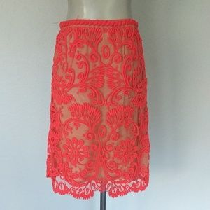 Baraschi Skirts - Anthropologie Bright coral embroidered skirt